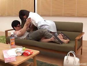 Couple,Hardcore,Asian,Japanese,Long Hair Kitano kneels down and lets the nerdy...