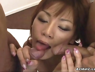 Threesome,MMF,Asian,Japanese,Bra,Stockings,Fishnet,Hardcore,Lingerie Japanese babes POV blow job Uncensored