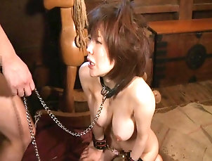 BDSM,Fetish,Slave,Asian,Japanese He puts her in a collar and chains...