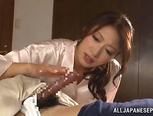 Amateur,Asian,Blowjob,Couple,Hardcore,Japanese,POV Kinky Japanese slut slobbers over her...