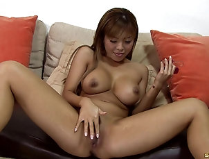 Couple,Hardcore,Asian,Cumshot,Cum On Tits,Fake Tits Lingerie-clad Asian slut with a hot...