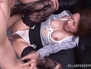 Natural Tits,Stockings,Asian,Japanese,Couple,Hardcore Astounding Shiori Ihara Gets Fucked...