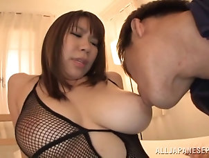 Couple,Hardcore,Asian,Japanese,Big Tits,Fishnet After a blowjob Iroha Suzumura gets...
