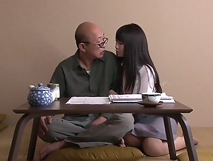 Couple,Hardcore,Asian,Japanese,Long Hair Old guy in love with her big natural...