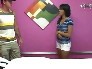 Asian,Reality,Couple,Hardcore,Massage,Interracial,Small Tits Angelina Chung gives massage to her...