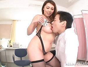 Couple,Hardcore,Asian,Japanese,Big Tits,Natural Tits,Food,Fetish,MILF,Cougars Seductive Asian cougar having her big...