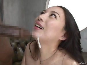 Couple,Japanese Mako Oda cannot wait to suck on her...