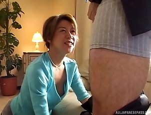 Couple,Hardcore,Asian,Japanese Her boss relaxes on the couch so she...
