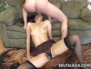 Gangbang,Hardcore,Asian,Redhead,Natural Tits,Handjob Attractive Asian babe loves hardcore...