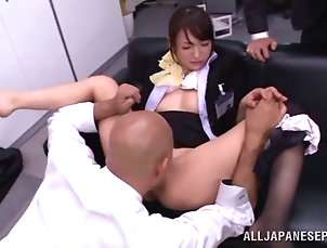 Threesome,Hardcore,MMF,Asian,Japanese,Clothed Sex,Reality,Office,Bra,Stockings,Nylon With a naughty coworker they have a...