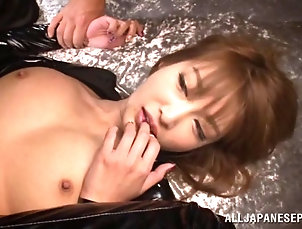 Asian,Japanese,Leather,Cumshot,Facial,Cum In Mouth,Hardcore Leather-clad Japanese chick with big...