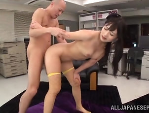 Threesome,MMF,Hardcore,Asian,Japanese,Long Hair,Stockings,Fishnet,Fingering Pigtailed Japanese bitch gets her...