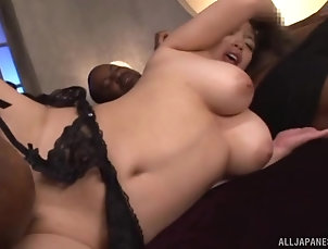 Threesome,MMF,Japanese,Natural Tits Mako Oda cannot wait to be ravished...