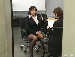 Japanese,Office,Couple,Clothed Sex,Pantyhose,Nylon,Panties Haruna Hana loves giving a good...