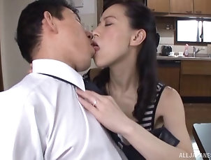 Hardcore,Couple,Asian,Japanese,Kitchen Horny Japanese chick lies on the...