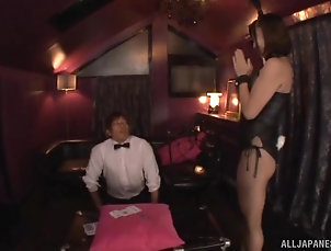 Couple,Japanese,Pantyhose,Fishnet Kimito Ayumi bends over in a hot...