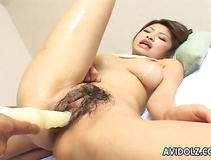 Hardcore,Asian,Natural Tits,Hairy,Japanese,Toys,Vibrator,Oiled,Pussy,Close Up Suave Japanese chick moans while her...