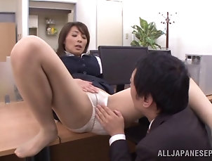 Mature,Asian,Japanese Asian office works get busy on a...
