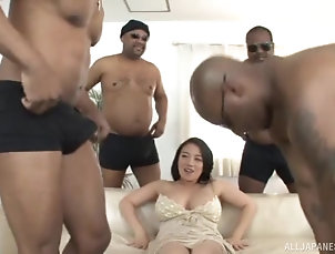 Gangbang,Interracial,Japanese,Big Tits,Natural Tits Busty Mako Oda attacked by a bunch of...