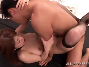 Japanese,Asian,Natural Tits,Stockings,Fishnet,Licking,Couple,Hardcore,Long Hair Hot sex with the busty Yuuka Minas...