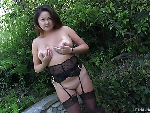 Couple,Hardcore,Asian,Outdoor,Chubby,Shaved Pussy,Pussy,Stockings,Nylon,Close Up Chubby, busty Asian girl enjoying her...