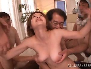 Asian,Japanese,Gangbang,Hardcore,Big Tits,Natural Tits,Handjob,Blowjob Devoted Japanese cowgirl with big...