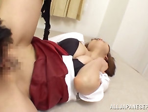 Asian,Couple,Hardcore,Japanese,Bra,Natural Tits,MILF,Miniskirt Spectacular Sayuki Kanno Sucks A Big...