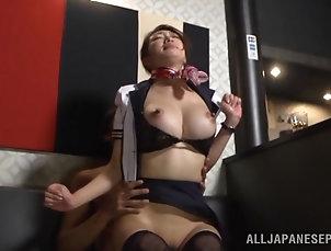 Threesome,MMF,Hardcore,Asian,Japanese,Brunettes Japanese flight attendant Reiko...