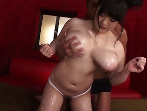 Couple,Hardcore,Asian,Japanese,Big Tits,Natural Tits,Close Up,Oiled Chubby Asian MILF with enormous...