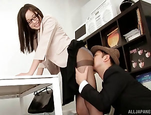 Couple,Hardcore,Asian,Japanese,Glasses,Pantyhose,Nylon,Office Japanese office worker with glasses...