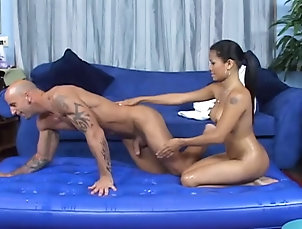 Couple,Hardcore,Asian,Bath,Soapy,Fake Tits Erotic massage with an Asian slut...