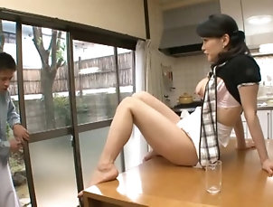 Couple,Hardcore,Asian,Japanese,Kitchen,Natural Tits,Bra Housewife Miki Sato fingers her clit...
