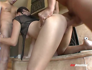 Hardcore,Asian,Brunettes,Threesome,MMF,Blowjob Double penetration of a very cock...