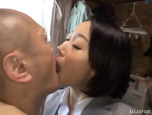 Couple,Hardcore,Asian,Japanese Vigorous missionary screwing for the...