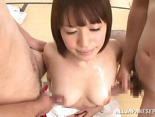 Threesome,Hardcore,MMF,Babes,Asian,Japanese,Natural Tits Oiled up Riko Honda sucks two dicks...