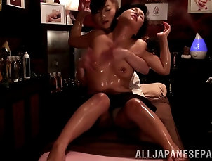 Lesbian,Massage,Oiled,Asian,Japanese Oily massage session turns into a...