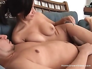 Couple,Cowgirl,Natural Tits,Brunettes Big tit Asian amateur fucked by her...