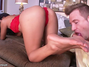 Couple,Hardcore,Lingerie,Nice Ass,Foot Fetish,Asian,Pornstars Angelina Chung lets a man lick her...