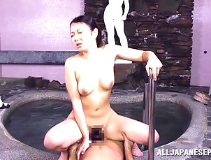Asian,Blowjob,Hardcore,Japanese,MMF,Natural Tits,Threesome Japanese hottie enjoys sucking two...