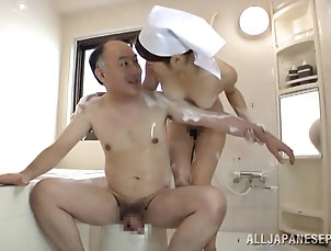 Couple,Hardcore,Asian,Japanese,Bath,Natural Tits,Brunettes,Hairy,Soapy Sauna girl from Japan entertains that...