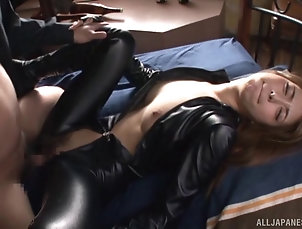 Couple,Hardcore,Asian,Japanese,Leather,Clothed Sex Hot Japanese chick wears leather...