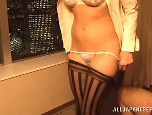 POV,Couple,Hardcore,Asian,Japanese,Blowjob,Thong Miwako Yamamoto sucks a dick and gets...