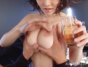 Asian,Big Tits,Couple,Cowgirl,Hardcore,Japanese Slutty Akane Mizuki rides a dick and...