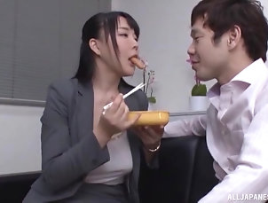 Couple,Japanese,Office,Food Brunette precious who is a secretary...