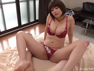 Couple,Japanese,Big Tits,Natural Tits Hakii Haruka is a hot babe in red...
