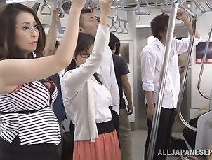 Asian,Japanese,Hardcore,Reality,Bus Fantastic Asian Brunettes Share A Big...