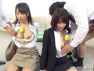 Asian,Japanese,Reality,Natural Tits,Bra,Foursome,Group Sex,Hardcore Horny Asian reporters are fucked by a...