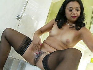 Couple,Hardcore,Pussy,Hairy,Asian,MILF,Cougars,Stockings,Nylon Asian MILF is proud of her hairy...