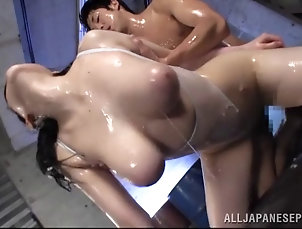 Asian,Japanese,Hardcore,Oiled,Doggystyle,Natural Tits,Big Tits Babe covered in slippery oil shared...