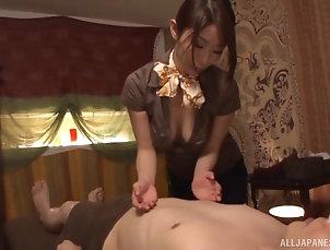 Couple,Hardcore,Asian,Japanese,Clothed Sex,Massage Pretty Japanese chick Shinoda licks...